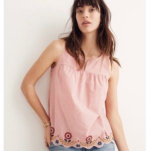 Madewell Gingham Embroidered Tank Top M Red White